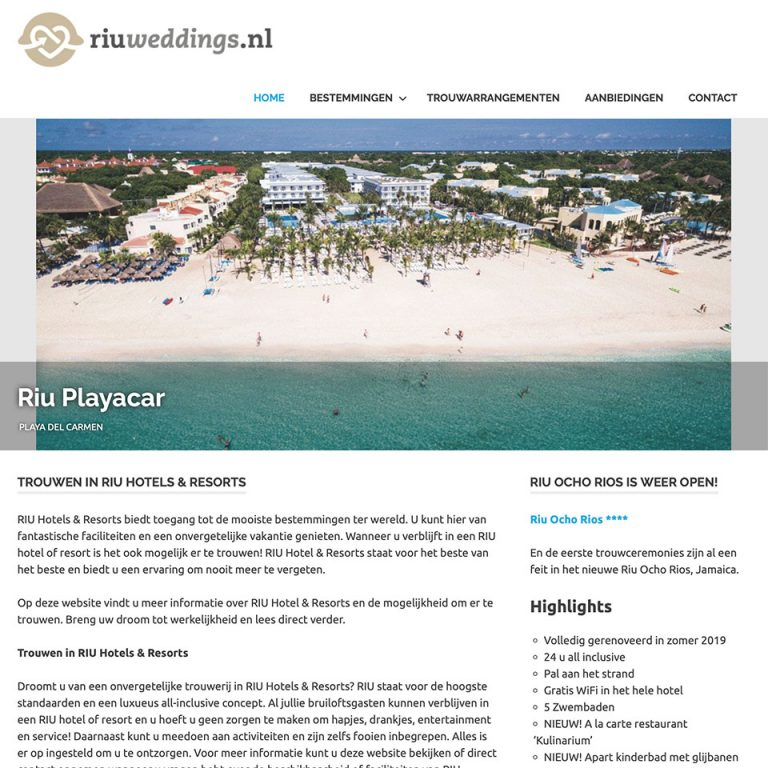Website & onderhoud RIU Weddings